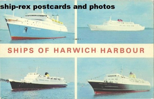 Harwich Harbour, ships, multi-view postcard (a1)